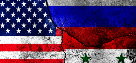 US, Russian, and Syrian flags